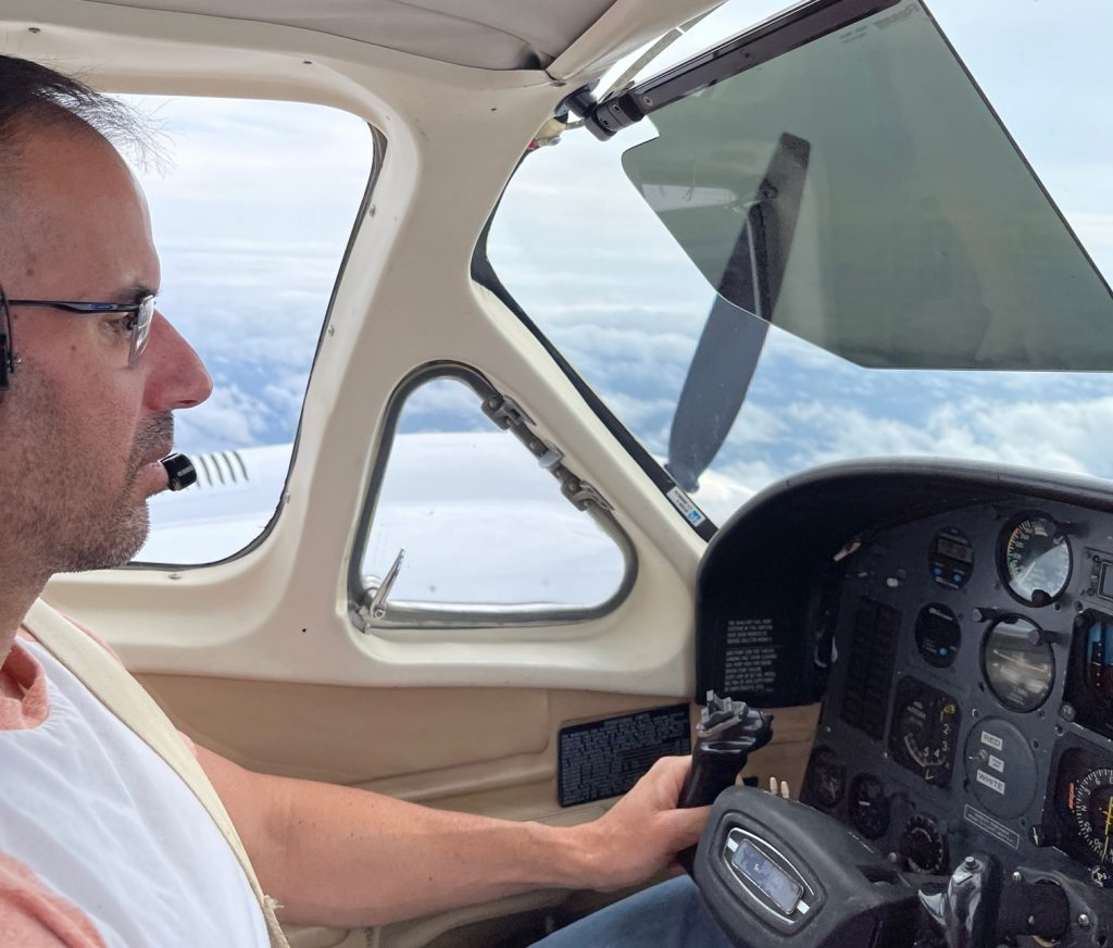 Twin Cessna Flying in Weather
